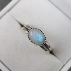 Moonstone and Sterling RIng (AshleighAnnette) Tags: blue white silver fire rainbow natural cut flash small ring sterling simple oval moonstone gemstone cabochon