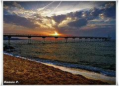 Pont del Petroli---Puente del Petroleo---(Oil Bridge) (# RAMON Mortadelo #) Tags: sunset puente mar playa arena amanecer nubes catalua badalona pilones pantalan pontdelpetroli oltusfotos oilbridge rememberthatmomentlevel1 mortadelo65pp