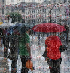 Rainy Day People (Scilla sinensis) Tags: red water rain rainy vader umbrellas väder schietwetter fotosondag fs120819 sommartema2012