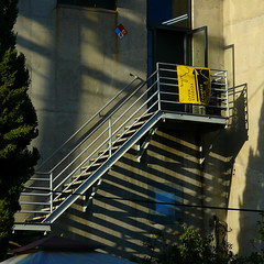 Stairs and Stripes Forever (lefeber) Tags: california door city urban building architecture stairs la losangeles downtown shadows steps angles staircase brewery plus railing artwalk