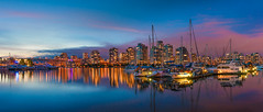 Vancouver skyline (Thierry Hennet) Tags: longexposure bridge blue summer urban panorama orange cloud canada building water skyline architecture vancouver zeiss skyscraper marina evening boat ship cityscape waterfront dusk britishcolumbia sony magenta ambient citylight traveldestinations a900 cz2470mmf28 visipix