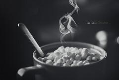 Day 239/365: Hot Cup Of Cocoa (jennydasdesign) Tags: blackandwhite bw hot texture cup photoshop 50mm bokeh chocolate smoke grain spoon swissmiss marshmallow type 365 cocoa 2012 shallowdof svartvitt project365 365days sonydslra300 dt50mmf18sam