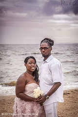 LA, Colonial Beach 2012 (HTRM2) Tags: family flowers wedding sunset roses portrait sky woman white man black love beach water dreadlocks clouds canon engagement sand hug couple surf linen champagne colonial ceremony husband wife africanamerican mauve bouquet embrace tulle hdr highdynamicrange organza fiance 20s fiancee crinoline eos5d htrmiller2 htrm2