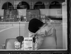 Into the Wild (flopper) Tags: sanfrancisco california blackandwhite man reflection window nap alone laundry dryer washer instantnoodle intothewild