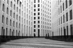 lost (victoriousviktor) Tags: windows building film architecture contrast canon construction moscow empty centre under delta nobody business lane there 100 a1 walls ilford rhythm fd5014 tschoban