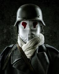 Broken Soldier 1 (Tortured Mind) Tags: red broken colors soldier blood eyes zoom helmet subject nikkor dslr bodyparts 54 d800 70200mmf28