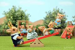 Sylvanian Families - Seesaw (Sylvanako) Tags: park trees cute nature animal playground yard fun toy happy jump families seesaw swing deer figure calico critters diorama flocked sylvanian toyphotography