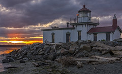 West Point Lighthouse (danfroese59) Tags: ocean seattle sunset sun lighthouse reflection beach washington waves dusk