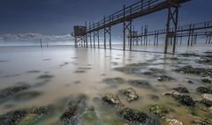 Carrelets 2 (maxcarter42) Tags: france seaweed river fishing rocks exposure jetty estuary hut maritime nets stilts charente gironde carrelet