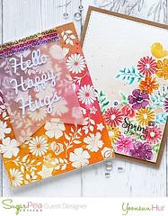 Floral Card (RejoicingCrafts) Tags: hello flower watercolor cards happy handmade stamp stamping hugs papercrafts handmadecard springshower cardmaking watercoloring sugarpeadesigns