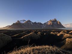 Stokksnes at sunset (NT) Tags: blue sunset mountain landscape iceland olympus hour zuiko omd heure islande bleue icelandic 714 em1 714mm islandais stokksnes islandaise