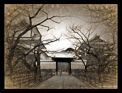 Kanazawa Castle by Leo (Emet Martinez Photography) Tags: painterly castle monochrome japan sketch drawing antique photopainting kanazawacastle orientalarchitecture photoartwork topazsoftware emetmartinezphotography emetmartinezcom topazimpression
