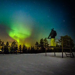 Me in Lapland (Zeeyolq Photography) Tags: nature finland alone rovaniemi adventure galaxy lapland auroraborealis milkyway finlande northernlight laponie