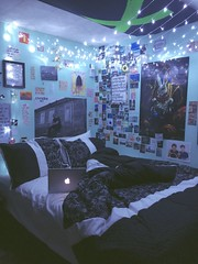 my favourite place (brooklyn legresley) Tags: blue home apple poster lights bed bedroom x posters walls eminem iphone aesthetic macbook tumblr