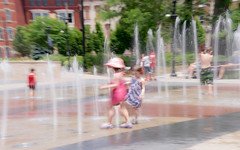 Best Friends (Cathy Donohoue) Tags: family flowers summer playing green love water children happy happiness fountains blurs bestfriends unsharp washingtonpark cincinnatiohio
