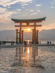 Sunset at Miyajima Torii Gate (patuffel) Tags: sunset orange reflection japan gate shrine tide low miyajima torii itsukushima