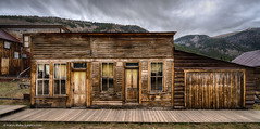 St. Elmo ghost town buildings (Vironevaeh) Tags: sky west history weather clouds outdoors colorado rustic 1800s mining logcabin alpine ghosttown photomerge dramaticsky hdr highdynamicrange americanwest stelmo highaltitude miningtown theamericanwest mountainous thewest saintelmo chalkcreek stelmocolorado historicminingtown historiccolorado historicwest