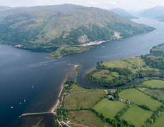 Loch Etive and the River Awe (Julian Baird) Tags: mountains beach field ga river landscape bay coast scotland boat flying highlands unitedkingdom harbour argyll aviation ground tags scene aeroplane aerial estuary coastal gb ppl loch pilot generalaviation taynuilt privatepilotslicense