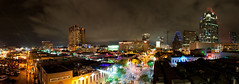 SXSW Nights Are Alive (-Dons) Tags: austin texas unitedstates frosttower cloud night sxsw sxsw2012 laser pano panorama downtown cityscape crane