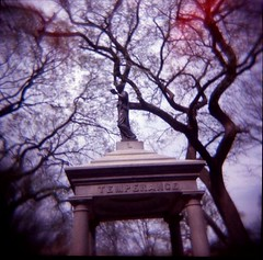 Temperance Fountain, Tompkins Square Park (Barbara L. Hanson) Tags: park new york city nyc light 120 film fountain statue square holga downtown village east avenue leaks temperance treest tompins