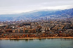 Lebanon, Beirut, aerial view of middle class blocks & informal settlements along the sea front (bilwander) Tags: travel lebanon view aerial solo beirut bilwander gimejul0813