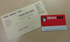 Then and Now: Library Cards (madisonpubliclibrary) Tags: history libraries 2012 1965 permissions madisonpubliclibrary