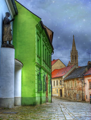 BRATISLAVA. Enchanted (Cat Girl 007) Tags: travel architecture colorful pastel medieval cobblestone slovakia baroque oldtown bratislava hdr historicbuildings contemporaryartsociety magicunicornverybest justpassingourtime starbrushes wanderlust2012photosubmission winnerofjuriedphotographyexhibition wanderlust2012travelsnearandfar1650studiogallery