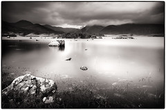 Lochan na h-achlaise and The Black Mount (Iain McGregor) Tags: white mountain lake black mountains water mono scotland rocks long exposure mount le glencoe loch moor lochan rannoch