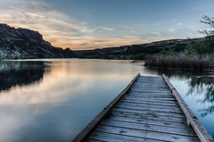 Deep Lake (NW Vagabond) Tags: lake dawn dock grandcoulee hdr dryfalls deeplake sunlakesstatepark