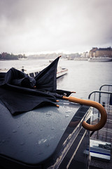 Today's wrecked umbrella (Fredrik Forsberg) Tags: sky mist water rain fog clouds umbrella boats sweden stockholm strmmen nastyweather