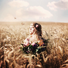 where have all the flowers gone? (karrah.kobus) Tags: flowers girl field clouds golden dragonflies wanted took wantingmore