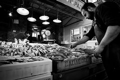 At The Fishmarket.. (Peter Levi) Tags: street city blackandwhite bw blancoynegro market streetphotography documentary greece crete fishmarket chania