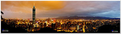 Taipei 101 Panorama ( or Jeff) Tags: ocean voyage bridge blue sunset sea sky art nature water colors night clouds buildings real coast twilight place shot dusk taiwan sigma explore 101  taipei   1020mm discovery   seeking scenes     nightfall afterglow merrill  foveon landscap    x3       glimmering 18200mm sd1