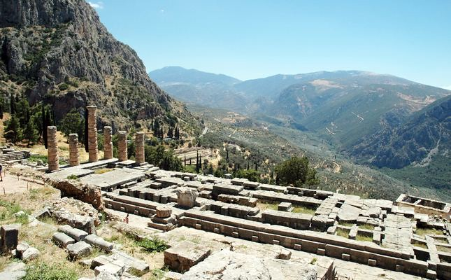 The ruins of the Temple of Apollo, Delphi, Greece