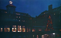 Christmas Season at the Inn Buck Hill Falls PA (Edge and corner wear) Tags: holiday mountains tree window vintage lights star pc display outdoor postcard illumination pa chrome poconos colored pocono wreathes chrostmas