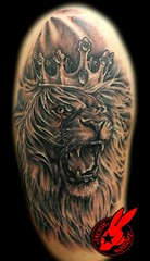 King Lion Tattoo by Jackie Rabbit (Jackie rabbit Tattoos) Tags: city wild hat tattoo cat star virginia king fierce lion roanoke va angry crown roar tat snarling snarl roaring feirce jackierabbit
