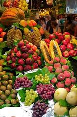 Barcelona market, Spain. 2012-06-10 (ecologyweb) Tags: barcelona apple fruit pumpkin spain market peach papaya mango durian catalunya grape kiwifruit ippc