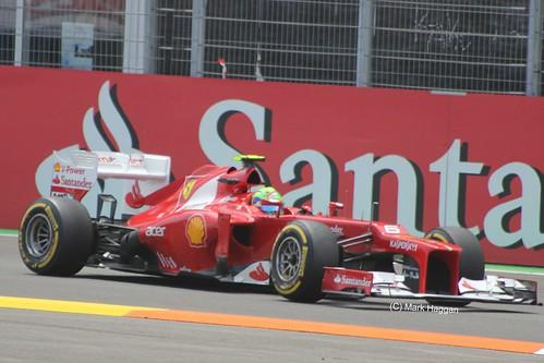 Felipe Massa in his Ferrari F1 car at the 2012 European Grand Prix in Valencia