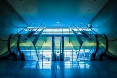 Which way..?? (icemanphotos) Tags: city longexposure blue light green scale colors stairs mall town hungary escalator center movingstaircase hff longexpo t