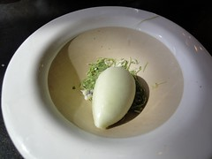 Cucumber sorbet, crushed herbs - palate cleanser (Australian Rozie) Tags: food restaurant holidays australia melbourne victoria finedining vuedemonde