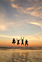 Up! (Ant1_G) Tags: ocean girls friends sunset people usa sun reflection beach boys water up silhouette de mexico happy four team jump jumping gulf friendship florida fort air joy group floating levitation happiness aerial celebration fl float sotto soto