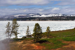 Yellowstone Lake (bhophotos) Tags: travel usa lake snow ice nature clouds landscape geotagged frozen spring nikon steam yellowstonenationalpark yellowstone wyoming ynp yellowstonelake d700 2470mmf28g bruceoakley