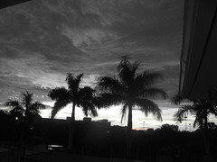 Sunset in Black & White (soniaadammurray) Tags: sunset sky building lights blackwhite furniture tress digitalphotography artinbw