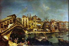 Michele Marieschi - Hermitage Museum. The Rialto Bridge from the Riva del Vin (1740s) (lack of imagination) Tags: people water