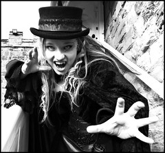 Vamping it Up (Cul 9) Tags: vampyre wgw digitalcameraclub whitbygothweekend blackwhitephotos