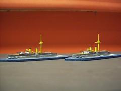 Models of Chinese armoured cruisers Jingyuan & Laiyuan (Giv75) Tags: japanese chinese wargame cruiser akagi warship maru liner armoured scratchbuilt gunboat saikyo laiyuan shipmodel jingyuan beiyangfleet 1890smerchants