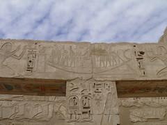 Medinet Habu Mortuary Temple of Ramesses III, Re-Horakhty complex, architrave relief decoration (dr.heatherleemccarthy) Tags: sculpture monument stone temple solar stonework egypt royal relief pharaoh column hieroglyphs thebes deities architrave ramesses rahorakhty
