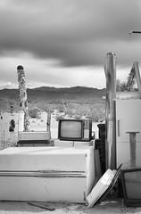 Desert TV (autobahn66.com) Tags: california blackandwhite abandoned monochrome trash landscape tv desert decay joshuatree surreal discarded monochomia