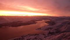 Sunset over Tromso, Norway (` Toshio ') Tags: winter sunset snow mountains reflection water norway river arctic arcticcircle tromso toshio