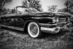 IMG_0120 (Silverio Photography) Tags: blackandwhite classic monochrome car boston photoshop canon vintage sigma cadillac anderson elements suburb 1770 vignetting brookline hdr topaz adjust larz 60d